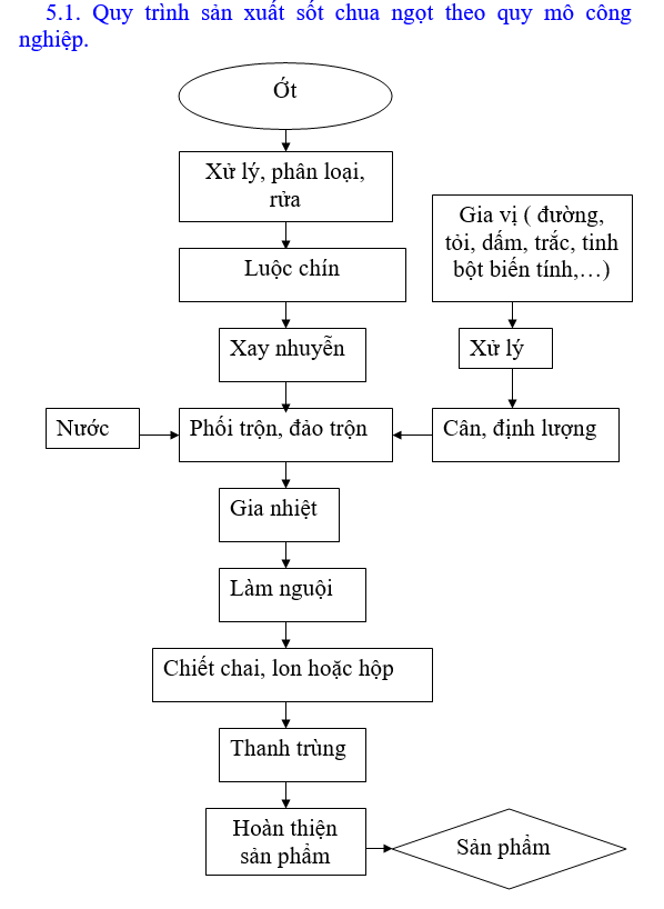 sơ đồ sản xuất tương ớt