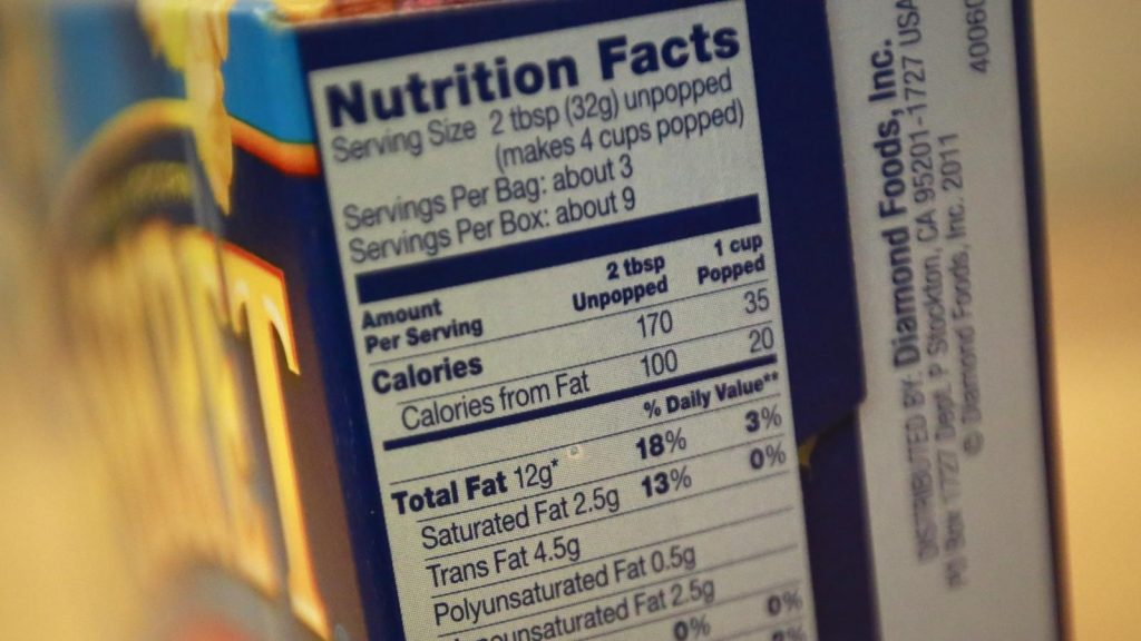 1 bảng Nutrition Facts